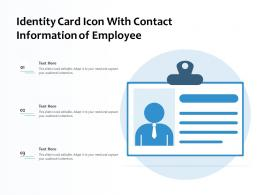 Identity Card Icon With Contact Information Of Employee