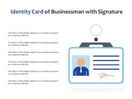 Identity Card Of Businessman With Signature