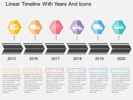 Ie Linear Timeline With Years And Icons Flat Powerpoint Design