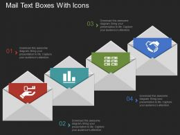 Ie Mail Text Boxes With Icons Flat Powerpoint Design