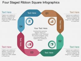 If Four Staged Ribbon Square Infographics Flat Powerpoint Design