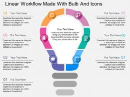 if_linear_workflow_made_with_bulb_and_icons_flat_powerpoint_design_Slide01