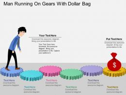 If Man Running On Gears With Dollar Bag Flat Powerpoint Design