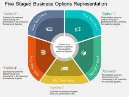 ig Five Staged Business Options Representation Flat Powerpoint Design