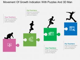 Ig Movement Of Growth Indication With Puzzles And 3d Man Flat Powerpoint Design