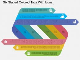 Ig Six Staged Colored Tags With Icons Flat Powerpoint Design
