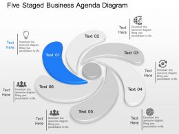 Ih Five Staged Business Agenda Diagram Powerpoint Template