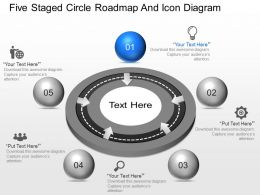 ih Five Staged Circle Roadmap And Icon Diagram Powerpoint Template