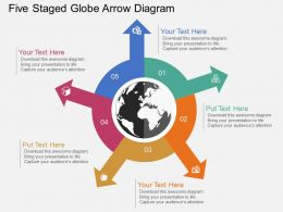 ih Five Staged Globe Arrow Diagram Flat Powerpoint Design