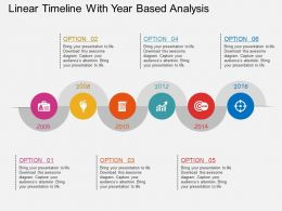 ih Linear Timeline With Year Based Analysis Flat Powerpoint Design