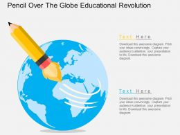 Ih Pencil Over The Globe Educational Revolution Flat Powerpoint Design