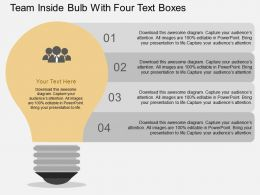 Ih Team Inside Bulb With Four Text Boxes Flat Powerpoint Design