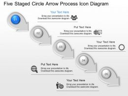 Ii Five Staged Circle Arrow Process Icon Diagram Powerpoint Template