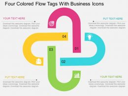 ii Four Colroed Flow Tags With Business Icons Flat Powerpoint Design
