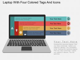 ii_laptop_with_four_colored_tags_and_icons_flat_powerpoint_design_Slide01