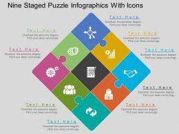 ii Nine Staged Puzzle Infographics With Icons Flat Powerpoint Design