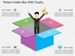 Ii Person Inside Box With Trophy Flat Powerpoint Design