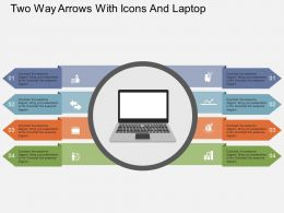 Ii Two Way Arrows With Icons And Laptop Flat Powerpoint Design