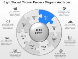 ij Eight Staged Circular Process Diagram And Icons Powerpoint Template