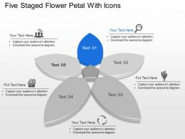 Ij Five Staged Flower Petal With Icons Powerpoint Template
