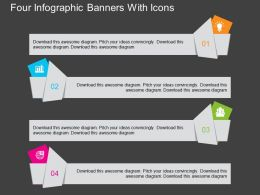 ij Four Infographic Banners With Icons Flat Powerpoint Design
