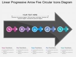 Ij Linear Progressive Arrow Five Circular Icons Diagram Flat Powerpoint Design