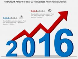 Ij Red Growth Arrow For Year 2016 Business And Finance Analysis Flat Powerpoint Design