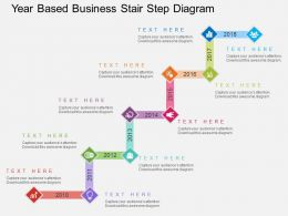 Ij Year Based Business Stair Step Diagram Flat Powerpoint Design