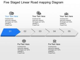 Ik Five Staged Linear Road Mapping Diagram Powerpoint Template