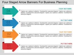 ik Four Staged Arrow Banners For Business Planning Flat Powerpoint Design