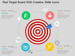 Ik Red Target Board With Creative Skills Icons Flat Powerpoint Design