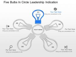 il Five Bulbs In Circle Leadership Indication Powerpoint Template