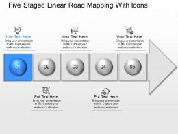 Il Five Staged Linear Road Mapping With Icons Powerpoint Template