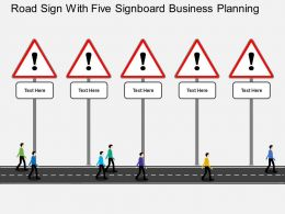 il_road_sign_with_five_signboard_business_planning_flat_powerpoint_design_Slide01