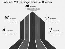 Il Roadmap With Business Icons For Success Flat Powerpoint Design
