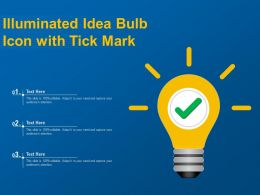 Illuminated Idea Bulb Icon With Tick Mark