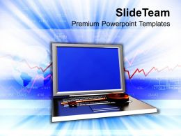 Illustration Depicting Brass Key On Laptop Powerpoint Templates Ppt Themes And Graphics