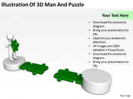 Illustration Of 3d Man And Puzzle Ppt Graphics Icons Powerpoint