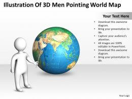 Illustration Of 3D Man Pointing World Map Ppt Graphics Icons
