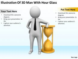 Illustration Of 3D Man With Hour Glass Ppt Graphics Icons Powerpoint