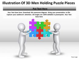 Illustration Of 3D Men Holding Puzzle Pieces Ppt Graphics Icons