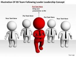 Illustration Of 3D Team Following Leader Leadership Concept Ppt Graphics Icons Powerpoint