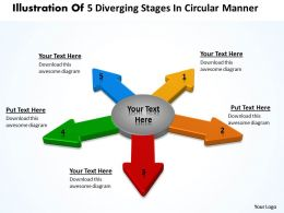 illustration of 5 diverging stages circular manner Flow Network PowerPoint templates