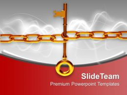 Illustration Of A Large Gold Key With Chain Powerpoint Templates Ppt Themes And Graphics 0113