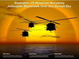 Illustration Of American Navyarmy Helicopter Blackhawk Over Sea Sunset Sky