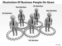 Illustration Of Business People On Gears Ppt Graphics Icons Powerpoint