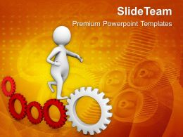 Illustration Of Gear Mechanism And Development PowerPoint Templates PPT Themes And Graphics 0513