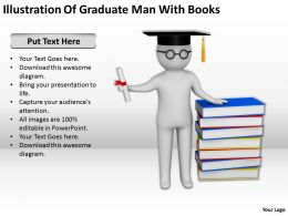 Illustration Of Graduate Man With Books Ppt Graphics Icons PowerPoint