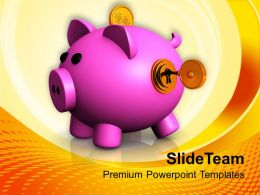 Illustration Of Locked Piggy Bank Savings PowerPoint Templates PPT Themes And Graphics 0213