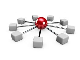 Illustration Of Network With Computers And Red Balls Stock Photo